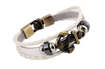 Rock Style Anchor Braided Rope Rock Multilayer Handmade Pu Leather White