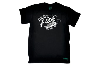 Drowning Worms Fishing Tee - Work Is For People Who Cant Fish - (Medium Black Mens T Shirt)