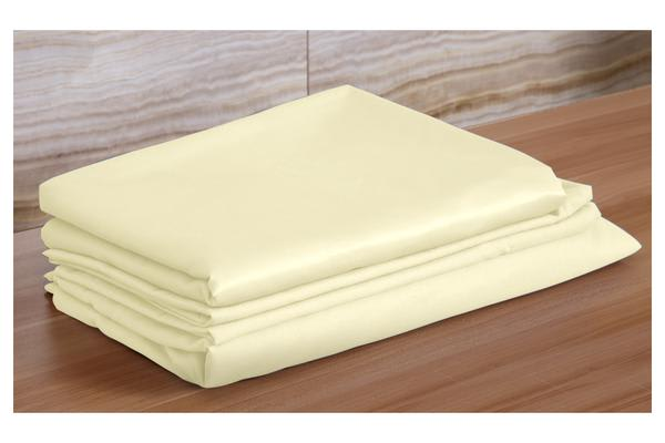 4 Piece Bed Sheet Set,Flat,Fitted,Pillowcases CREAM King