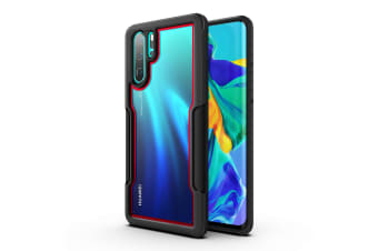 MAXSHIELD Slim Clear Heavy Duty ShockProof Case for  P30 Pro-Red