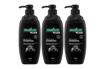 3x Palmolive 450ml Men Shower Gel/Body Wash Bath Skin Care with Natural Charcoal