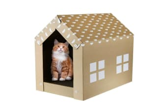 Cat Scratcher Cardboard House Eco-Friendly Portable Easy Assemble Kitty Pet Fun