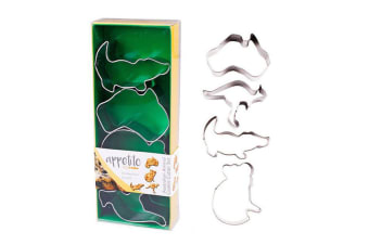 4pc Appetito Australian Animals Stainless Steel Cookie Mould Cutters Shape Set