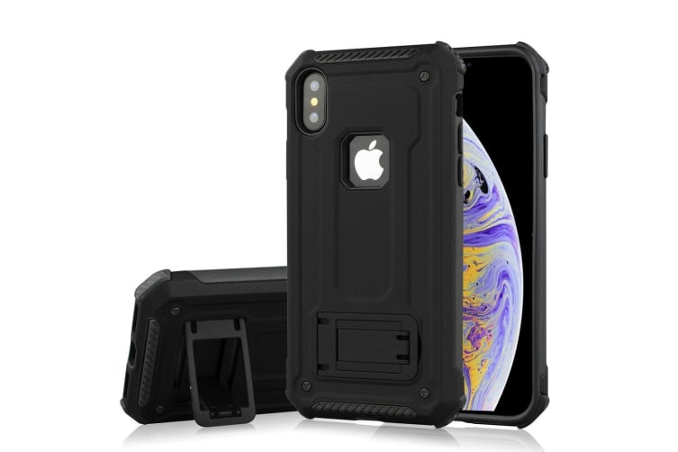 For iPhone XS Max Cover Shockproof Thin Armour Kickstand Case Black