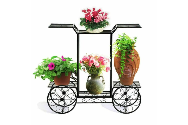2x Outdoor Indoor Pot Plant Stand Garden Decor Flower Rack Wrought Iron 4Wheeler