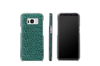 For Samsung Galaxy S8 Case Fierre Shann Crocodile Genuine Leather Cover Green