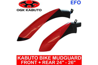 "Ogk Kabuto 24 - 26"" Front + Rear Bike Mudguard Fender Mountain Road Cycling Red"