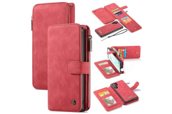 For Samsung Galaxy Note 10+ Plus Case  Wallet PU Leather Flip Cover  Red