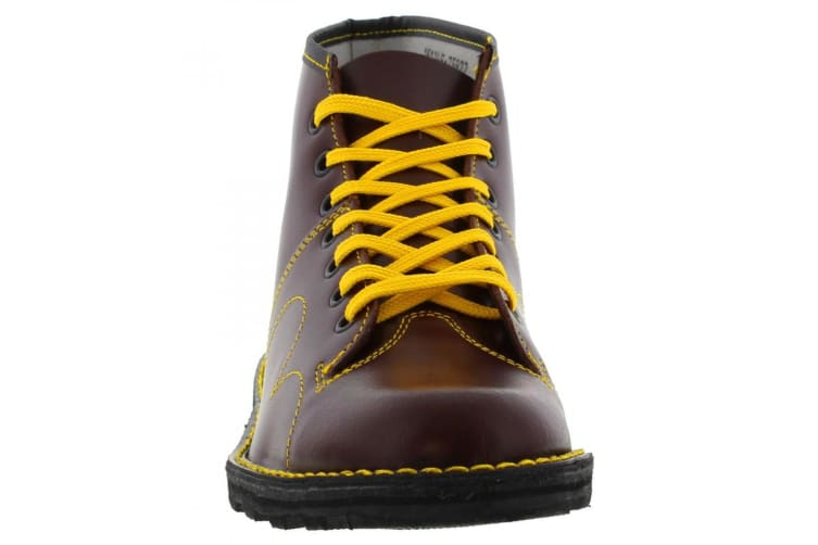 Grafters Mens Original Coated Leather Retro Monkey Boots (Wine) (12 UK)