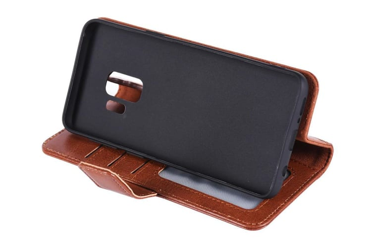 Urban Leather Wallet Case Flip Cover Protection for Samsung Galaxy S9 Tan Brown