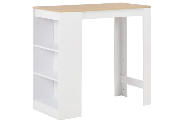 vidaXL Bar Table with Shelf White 110x50x103 cm