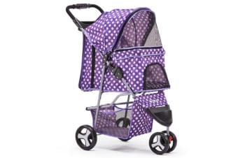 i.Pet 3 Wheel Pet Stroller Purple