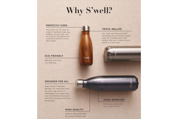 S'well Insulated Stainless Steel Bottle Wood Collection White Birch 500ml