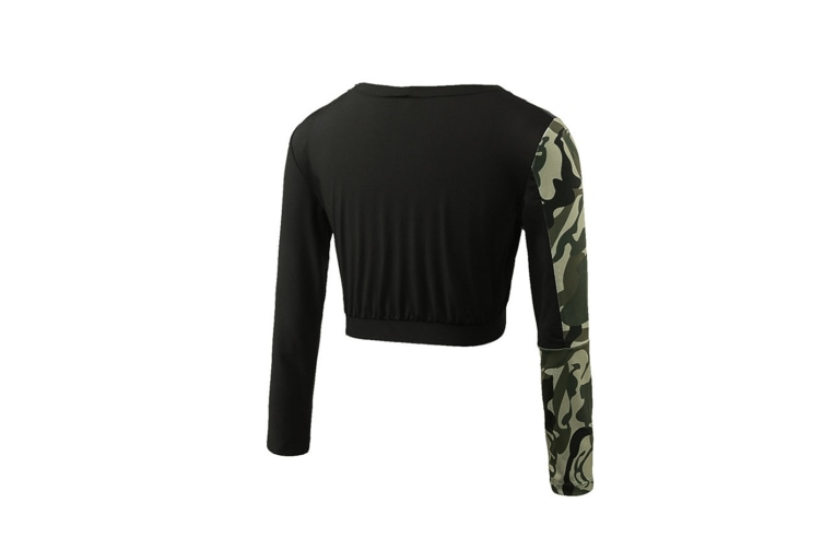 Women Crop Top Long Sleeve Yoga T-Shirt Quick Dry Gym Running Tights Tees - Army Green Green S