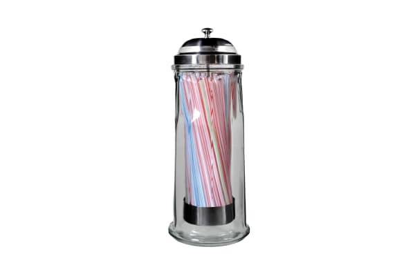 Large Glass Straw Dispenser - Free Straws Included
