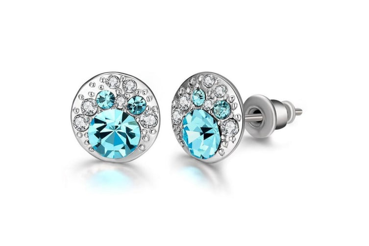 Blue Dawn Stud Earrings Embellished with Swarovski crystals