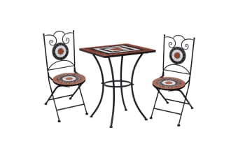 vidaXL 3 Piece Mosaic Bistro Set Ceramic Tile Terracotta and White