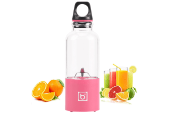 Portable 500ml Fruit Slicer Usb Rechargeable Electric Juicer Cup Blender Water Bottle With Charging - Juicers Easy Manual Clean Best Sellers-PINK