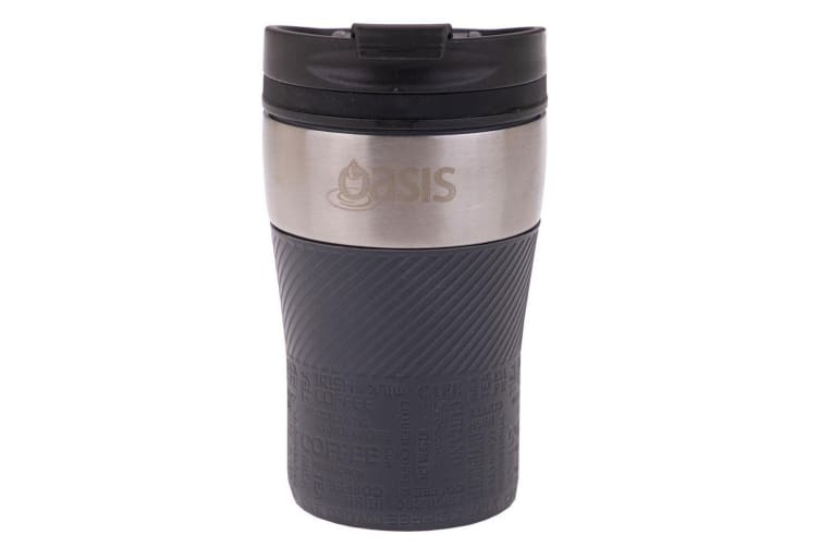 Oasis 280ml Cafe Stainless Steel Insulated Travel Drink Cup Flask Charcoal Grey
