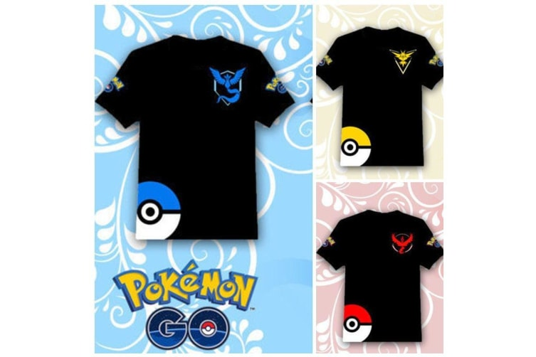 NEW- Pokemon Go Team Valor Mystic Instinct Pokeball Mens Womens Tops T Shirt Tee - Team Mystic (Black-Blue)