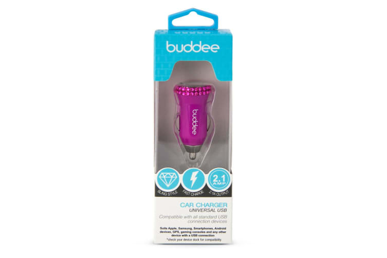 Buddee Single USB Car Charger 2.1A Bling Pink for Android/Samsung/iOS/iPhone