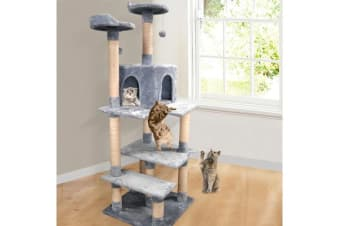 1.7M Cat Scratching Post Tree Gym House GREY
