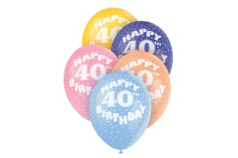 Unique Party Assorted Happy 40th Birthday Latex Balloons (Pack Of 5) (Multicoloured)