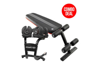 2x 40kg Powertrain Adjustable Dumbbells and Stand w/ Adidas Bench