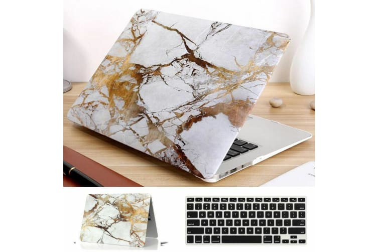 """Marble Frosted Matte Hard Case with Free Keyboard Cover for MacBook Pro 13"""" 2016-2018 A1708(no Touch Bar)-Gold Marble"""