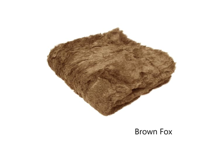 Solid Colour Luxury Faux Fur Animal Throw Brown Fox by Artex