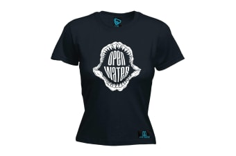 Open Water Scuba Diving Tee - Jaws - (Small Black Womens T Shirt)