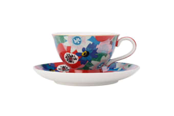 Maxwell & Williams Teas & C's 200ml Footed Cup w  Saucer Set Passion Vine Blue