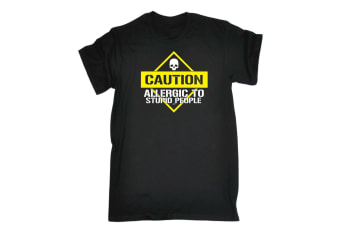 123T Funny Tee - Caution Allergic To Stupid People - (5X-Large Black Mens T Shirt)