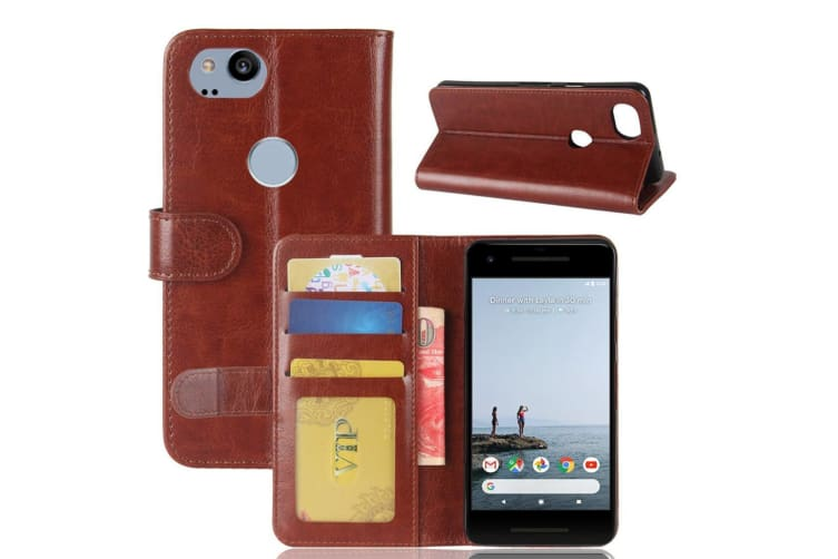 low priced a2a68 be0aa For Google Pixel 2 Wallet Case Stylish Wild Horse Protective Leather Cover  Brown