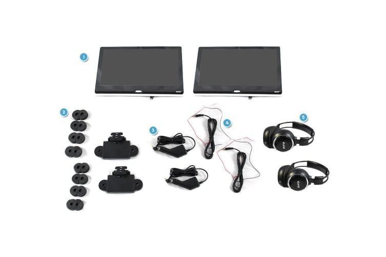 """Elinz 2x 11.6"""" Android Active Car Headrest Mp5 WiFi 1080P Touch Screen No DVD Player"""
