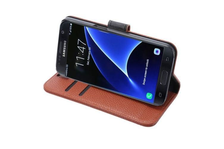For Samsung Galaxy S7 EDGE Wallet Case  Durable Lychee Leather Cover Brown