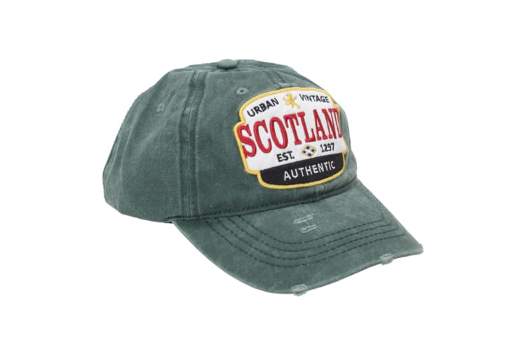 Scotland Unisex Adults Distressed Baseball Cap (Forest) (One Size)