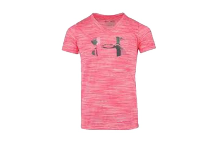 Under Armour Girls' Tech Big Logo V-Neck (Pink Stria/Watercolor, Size XS)