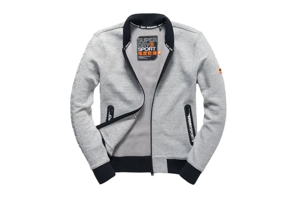 Superdry Men's Gym Tech Bomber Top (Grey Grit, Small)