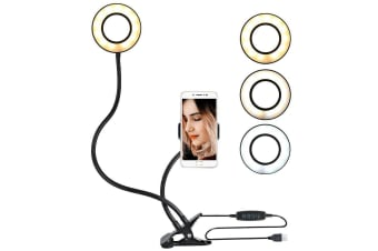 AU Clamp-on LED Selfie Ring Light With Cell Phone Holder Adjustable Light-Black