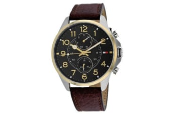 Tommy Hilfiger Men's Dean Watch (Black Dial, Leather Strap)