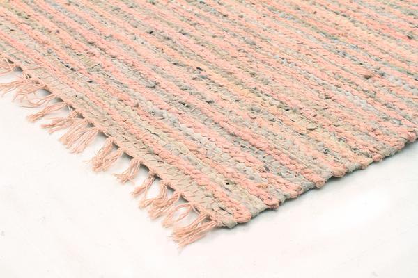 Bondi Leather and Jute Rug Nude Pink 400x80cm