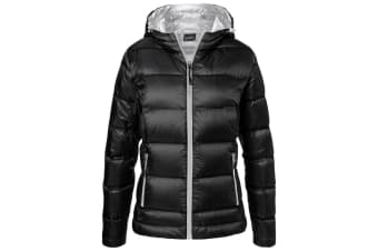 James and Nicholson Womens/Ladies Hooded Down Jacket (Black/Silver) (M)