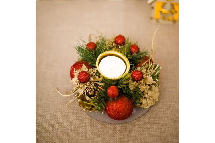 Christmas Berry Pine Cones Leaves Holly Wreath Candle Holder Table Xmas Décor - Red