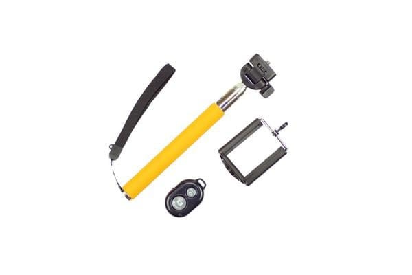 Bluetooth Remote Control Extendable Selfie Stick Monopod For Iphone Samsung Yellow