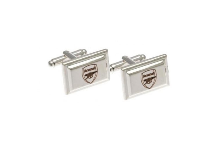 Arsenal FC Official Silver Plated Football Crest Cufflinks (Silver) (One Size)