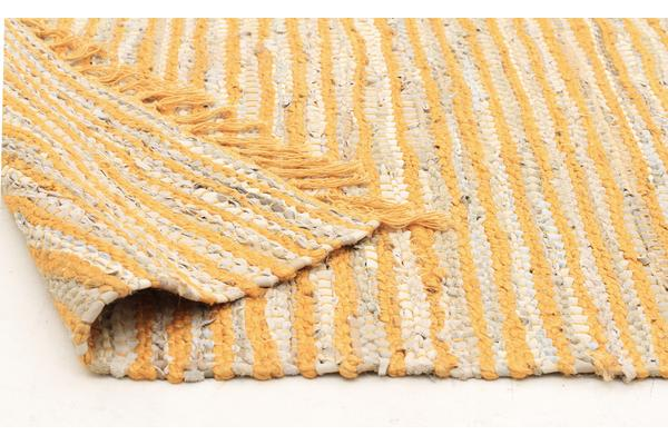 Bondi Leather and Jute Rug Yellow 400x80cm