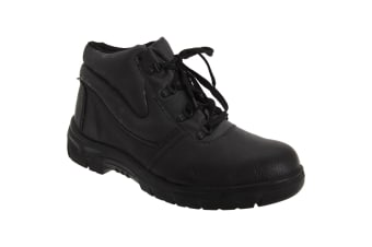 Grafters Mens Grain Leather Padded Ankle Safety Toe Cap Boots (Black)