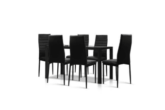 7-Piece Dining Table and Chairs Sets Black