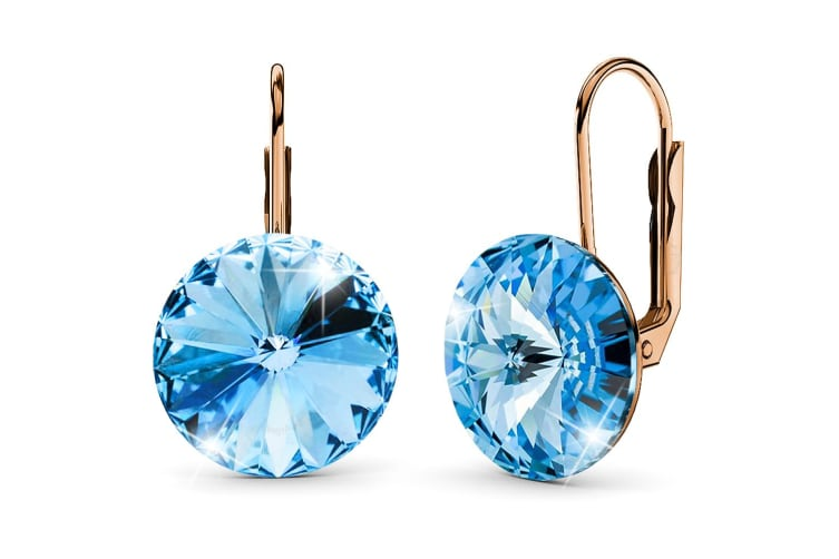 Diana Rose Gold Crystal Blue Drop Earrings